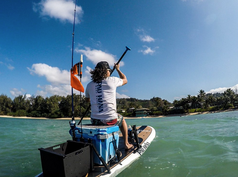 Todd fishing on the Big EZ angler by Pau Hana surf supply