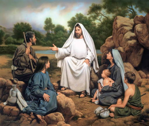 Painting of Jesus sitting on a stone and teaching a small group of people.
