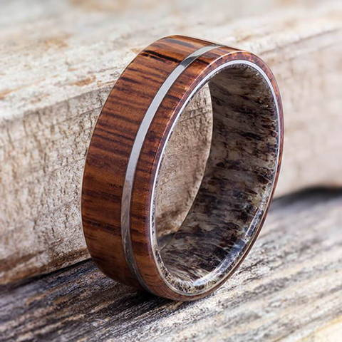 deer antler sleeve ring honduran rosewood titanium wedding band