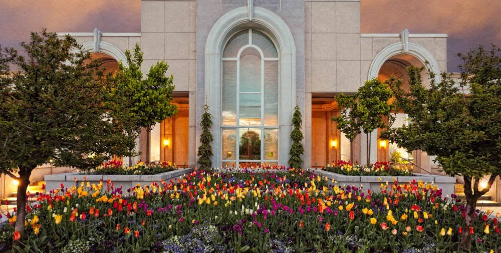 LDS art up-close photo of the flowerbed outside the Mount Timpanogos Temple.