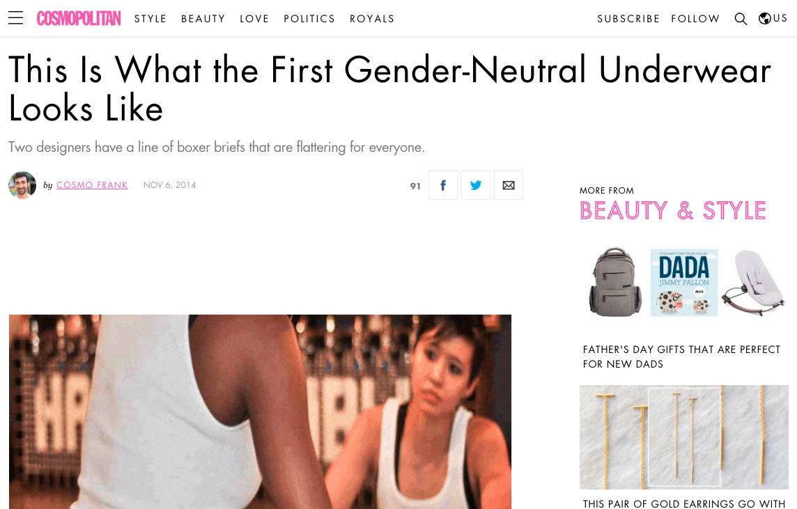 Cosmopolitan - This Is What the First Gender-Neutral Underwear Looks Like