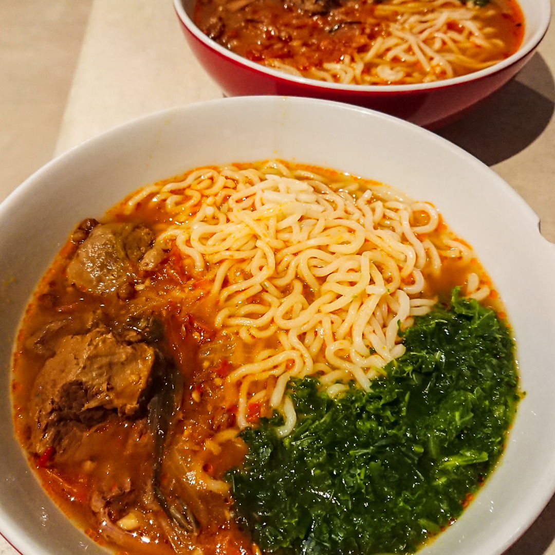These noodles in our Taiwanese Spicy Beef Noodle Soup.  This was so good!!