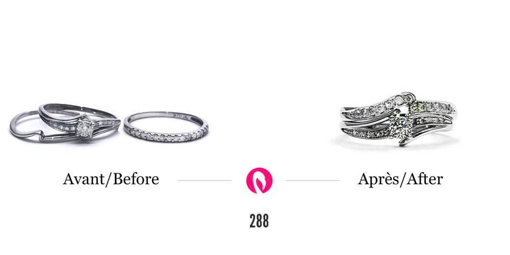 Transformation de vieilles alliances avec diamants en un do bague de fiançailles solitaire semi-éternité et jonc match éternité en or blanc
