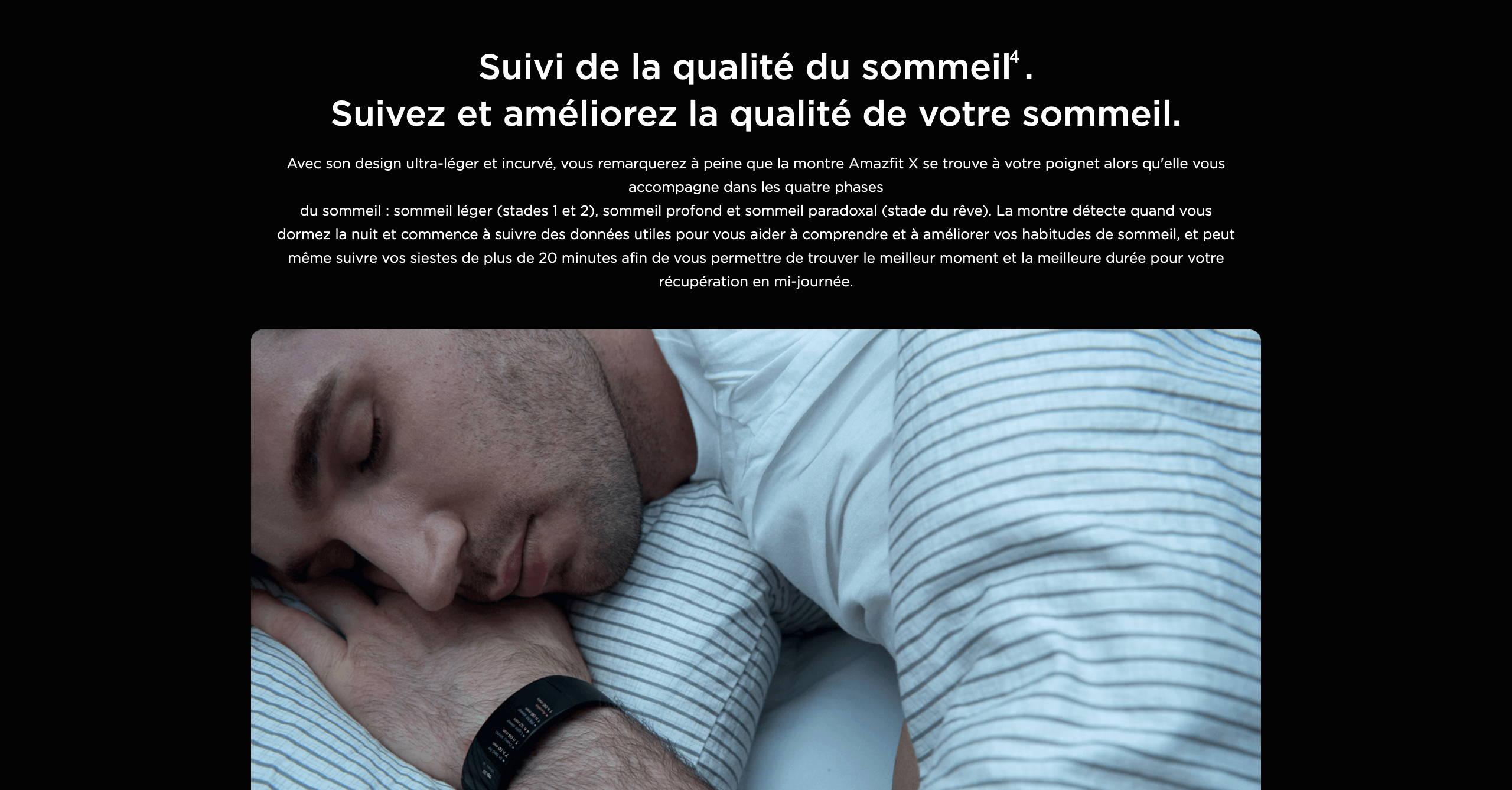 Amazfit X - Suivi de la qualité du sommeil. Suivez et améliorez la qualité de votre sommeil.