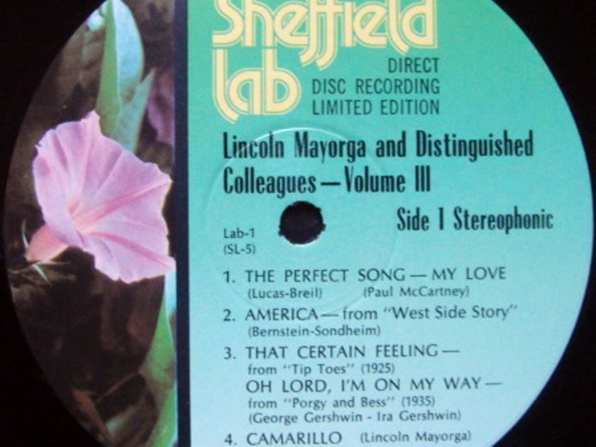 ★Audiophile★ Sheffield Lab / MAYORGA, - Lincoln Mayorga & Colleague Vol III, MINT, TAS LP!
