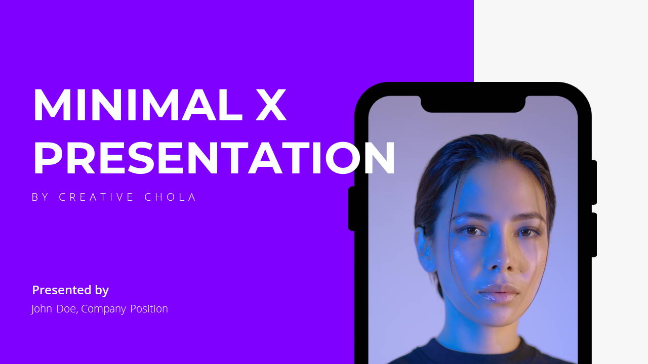 Minimal X  Pitch Deck Presentation Template Title Page
