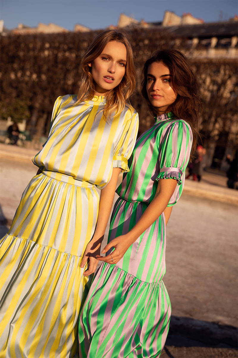Charlotte Lemay and Philou Celaries match in candy striped silk sets