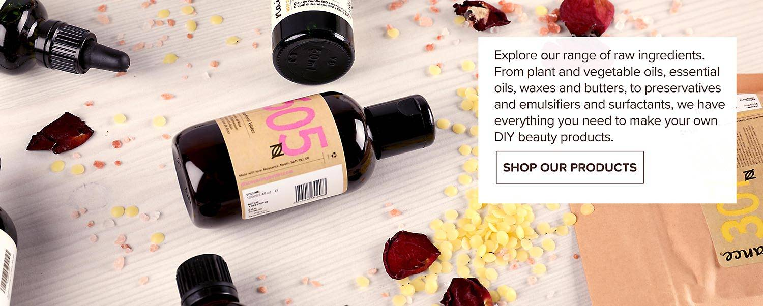 Explore our Raw ingredients. From Plant and vegetable oils, essential oils, waxes, butters, emulsifiers - everything you need to make your own DIY beauty products.