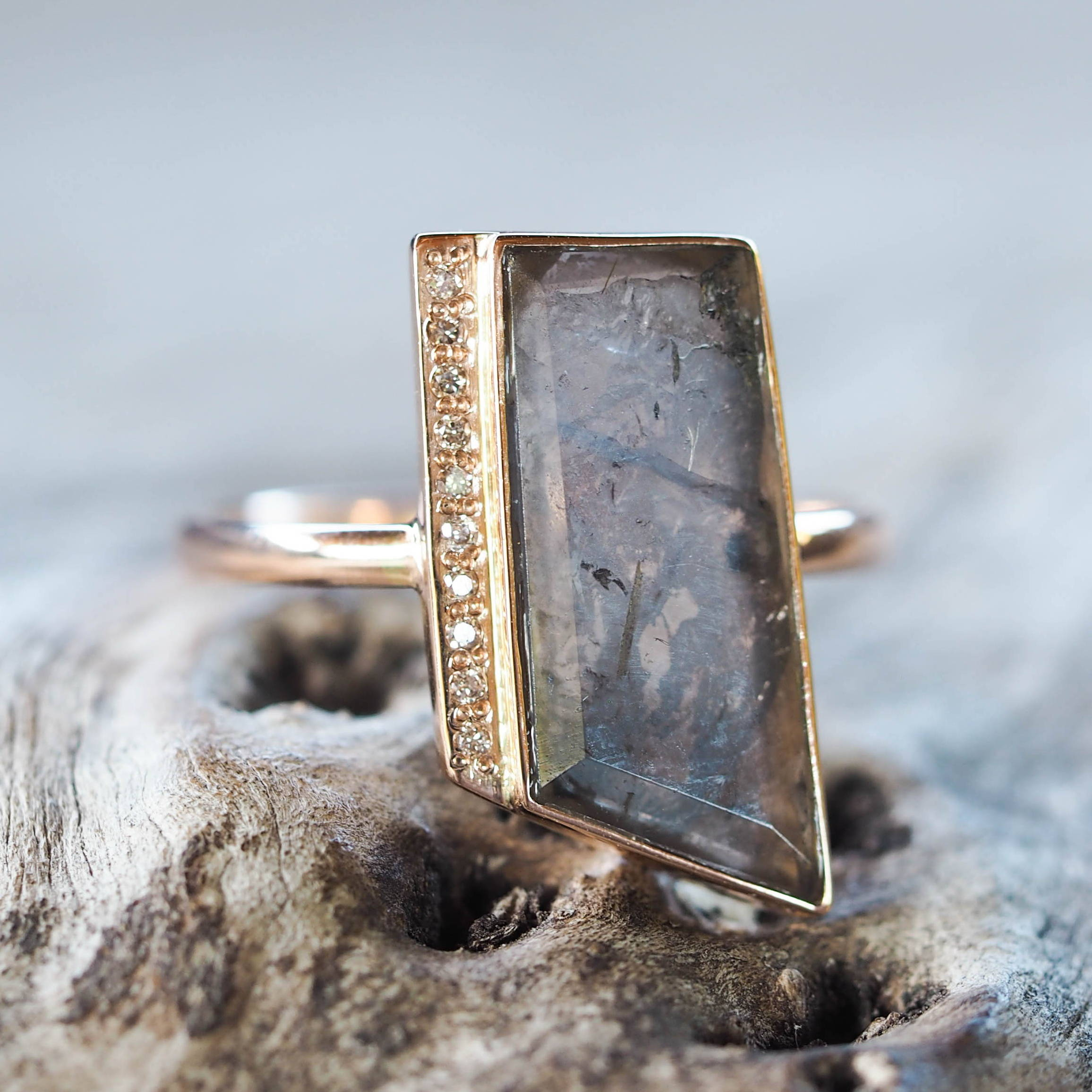 Brazilian Tourmaline Slice and Diramond Ring in ethical gold.