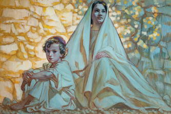 Painting of Mary and young Jesus sitting together oustide in front of a stone wall.
