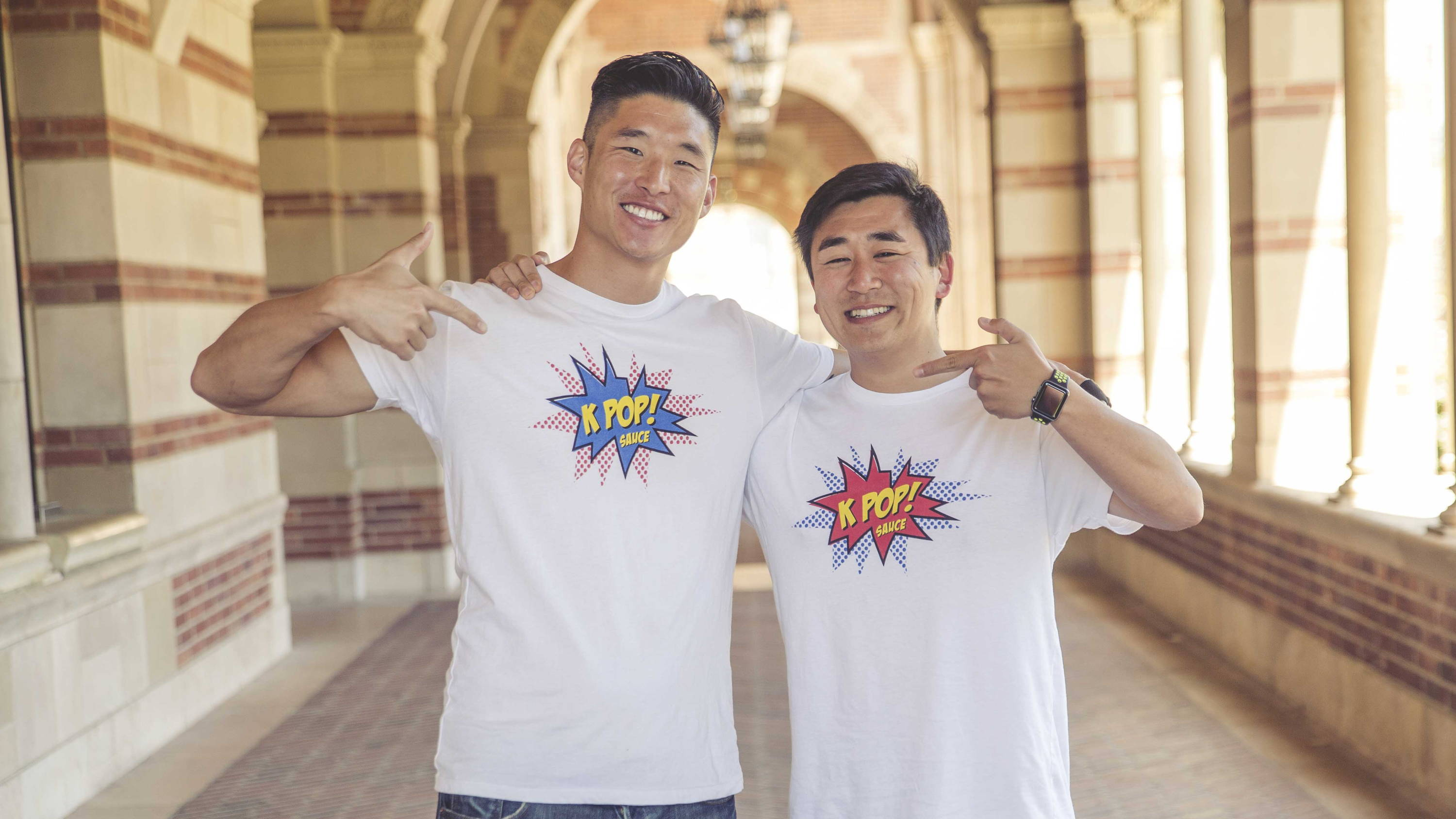 KPOP Sauce founders Theo and Mike pose at UCLA