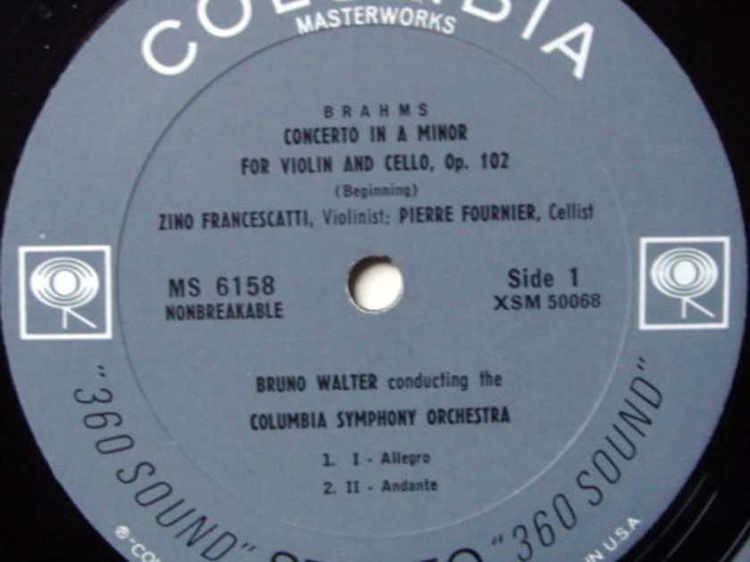 Columbia 2-EYE / FOURNIER-FRANCESCATTI-WALTER, - Brahms Double Concerto, NM!