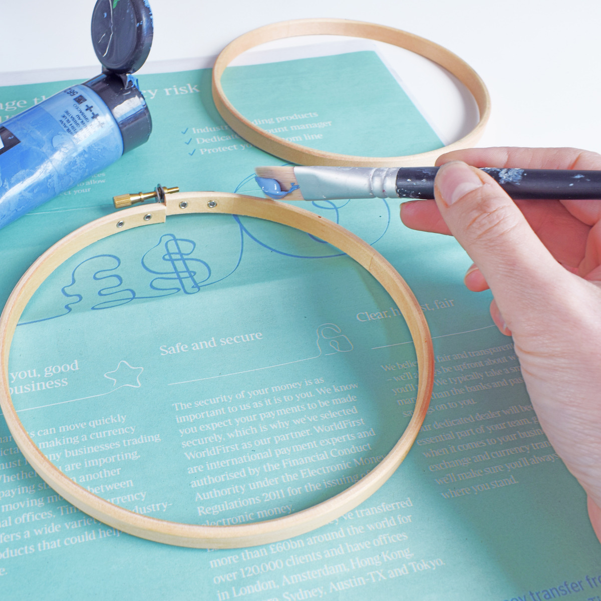 How to paint your embroidery hoop