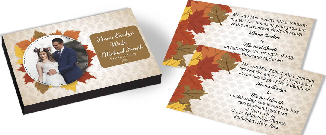 Autumn Leaves Wedding Invitation Boxes