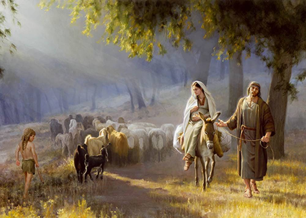 LDS art painting of Joseph leading Mary on a donkey past a shepherd boy and his flock.