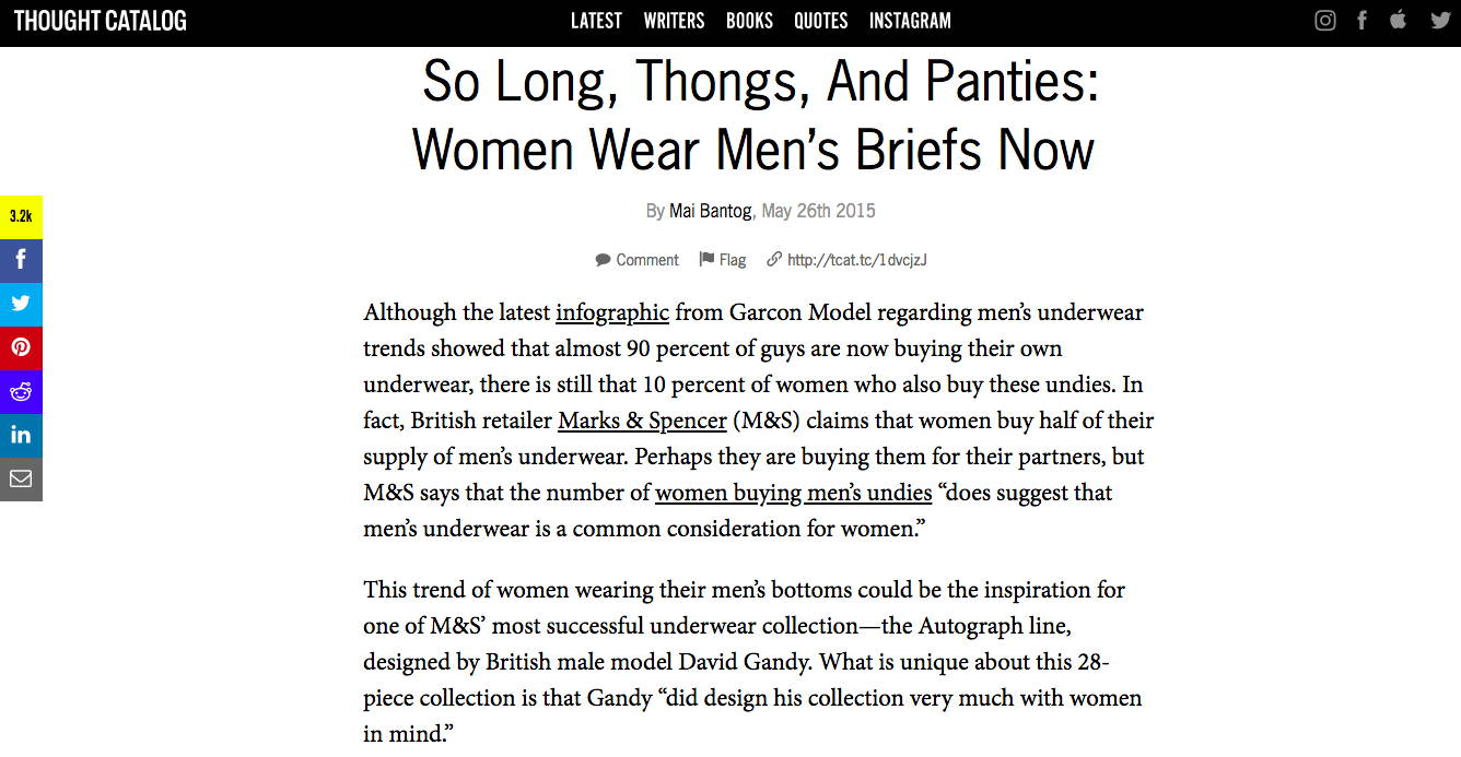 Thought Catalog - So long, thongs, and panties: women wear men's briefs now