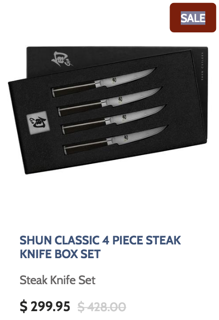 Shun Classic 4 Piece Steak Knife Box Set