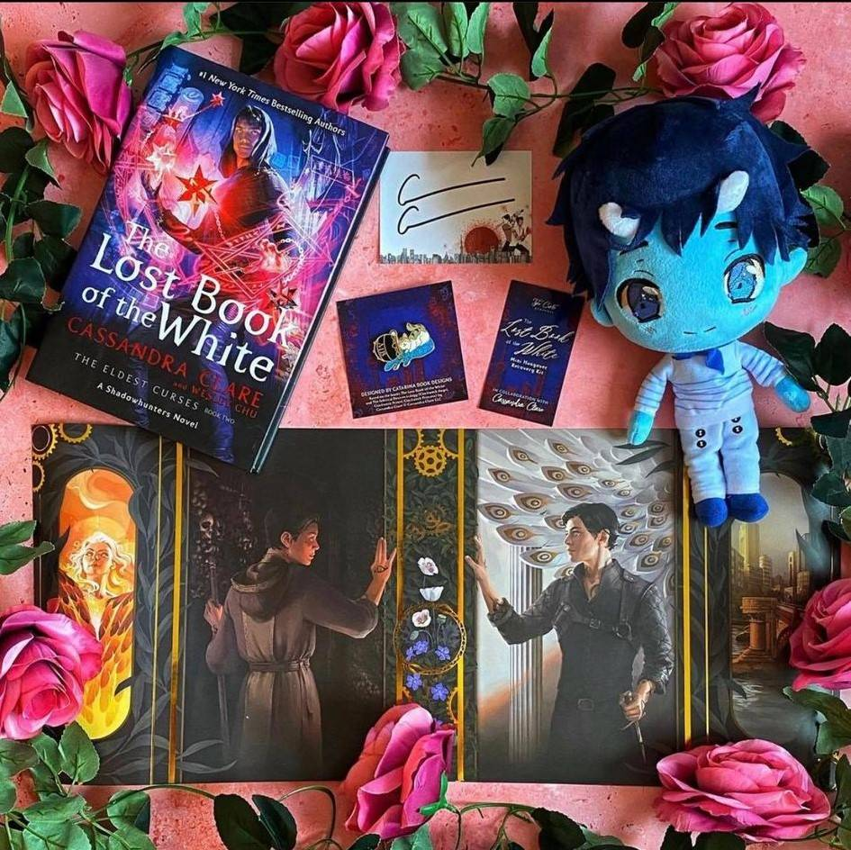 The Lost book of the White Hardcover by Cassandra Clare, Max Plushie, Chairman Meow Enamel Pin, and Exclusive Dust Jacket Set by Alice Duke