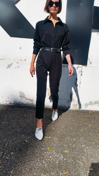 Черный комбинезон с рубашечной полочкой