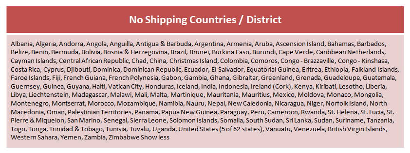 LAPA shipping info, no shipping countries and disctricts.