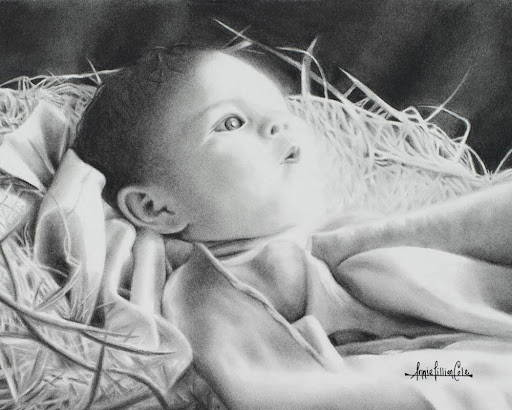 Charcoal drawing of baby Jesus lying in a manger.