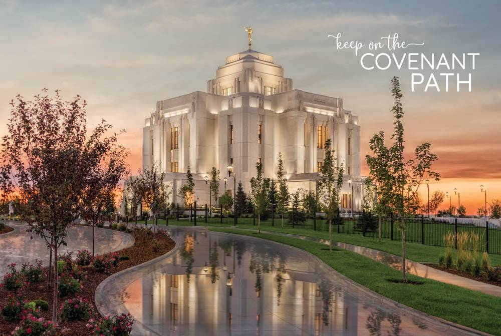 "LDS temple photo by Robert A. Boyd of the Meridian Temple. Text reads: ""Keep on the Covenant Path."""