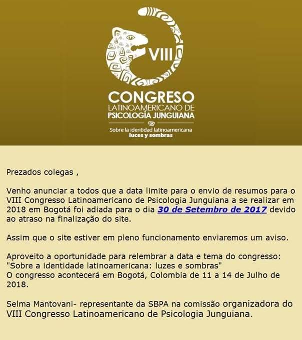 VIII Congresso Latinoamericano de Psicologia Junguiana- Colombia, Bogotá- 11 a 14 de Julho de 2018