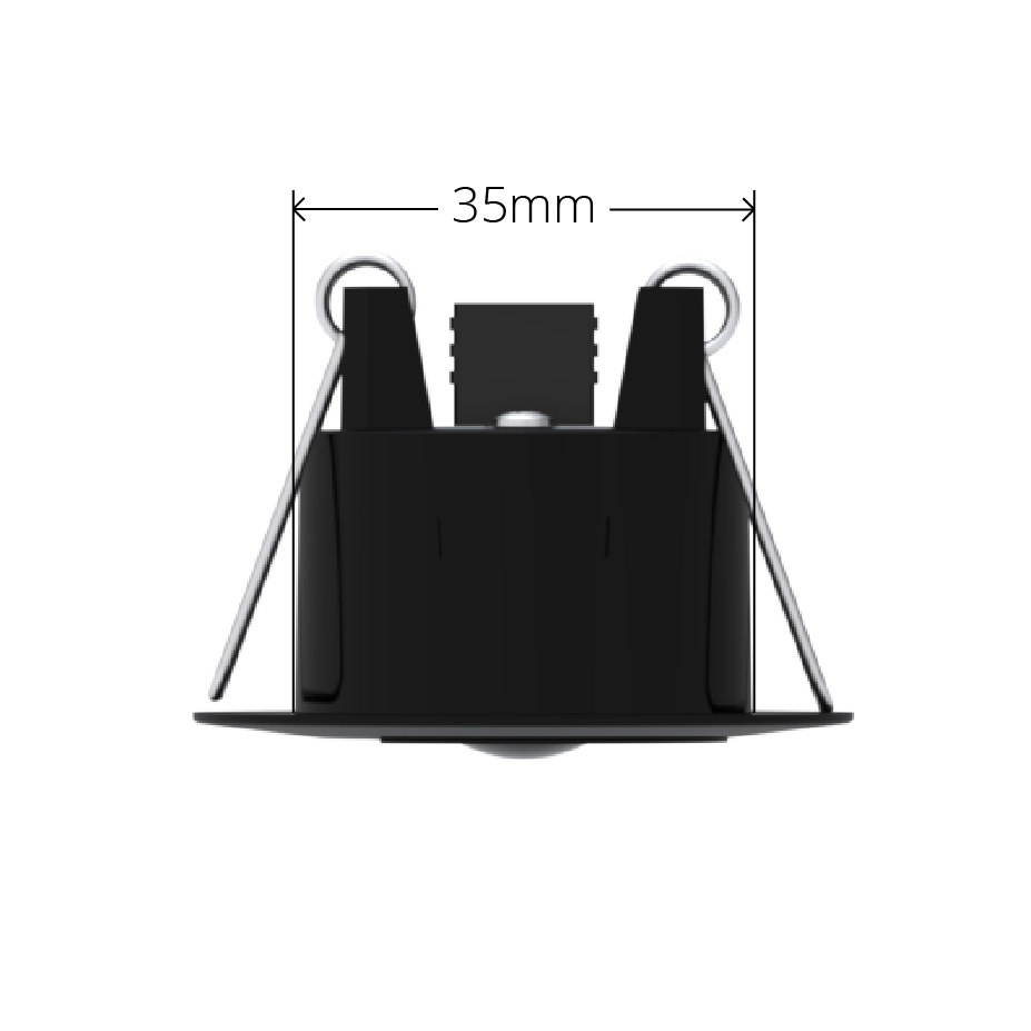 Black Faradite Motion Sensor 360 volt free dry contact 35mm dimensions
