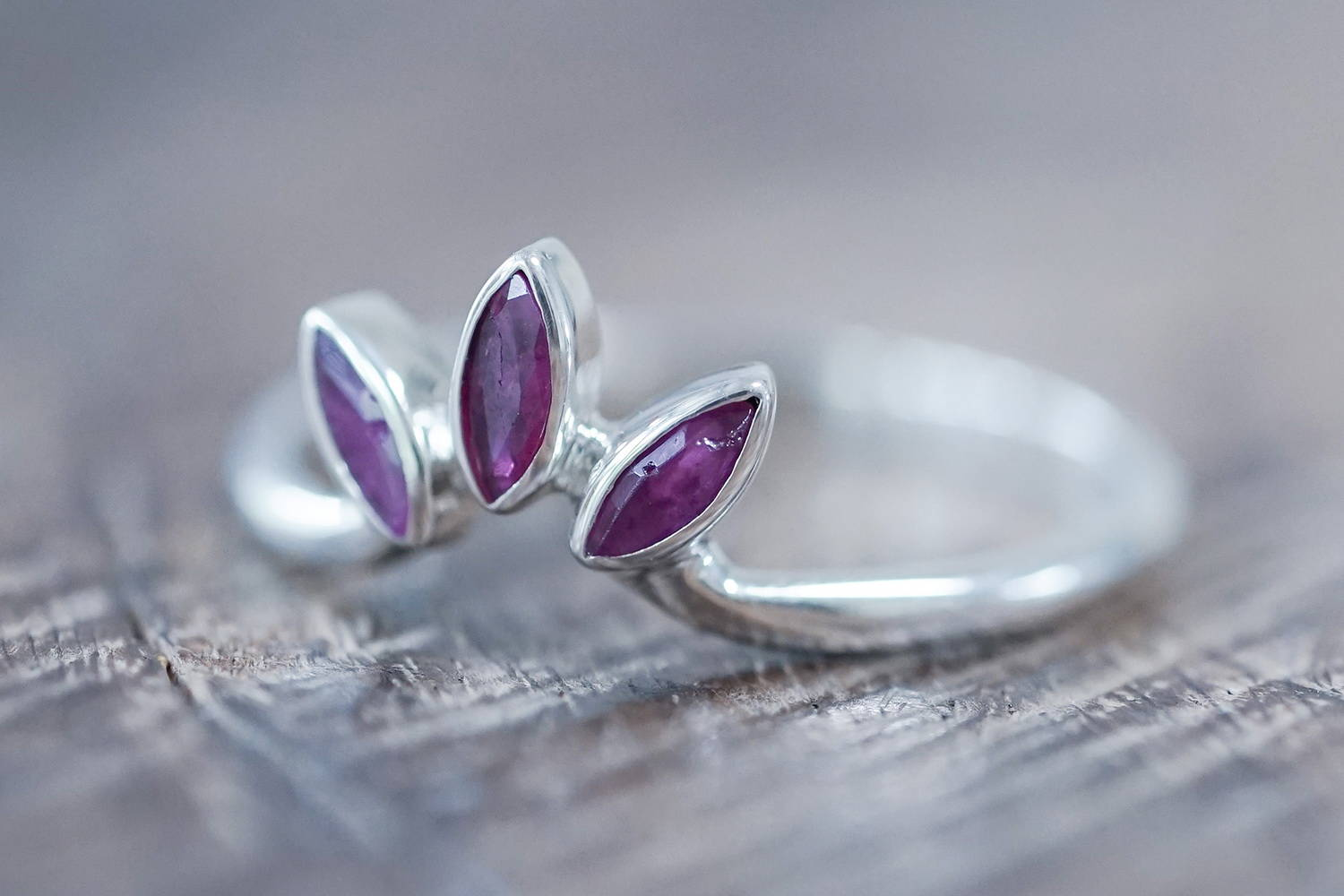 Recycled silver nesting band with rubies
