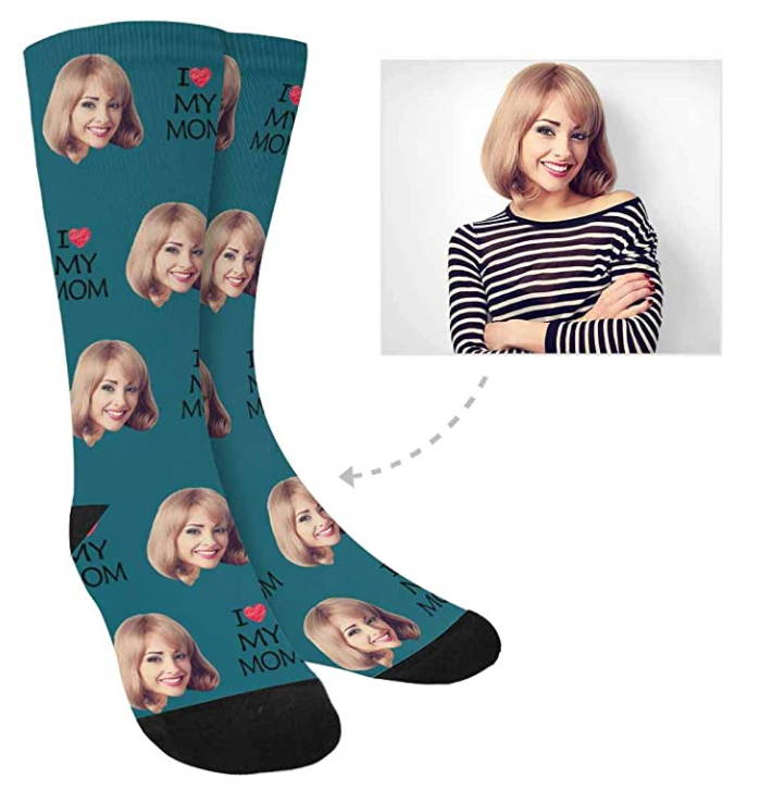 Custom Personalized Print Your Photo Face Socks, I Love My Mom Crew Socks for Women Mother's Day