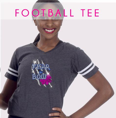 glitterstarz football tee bling basics custom rhinestone apparel
