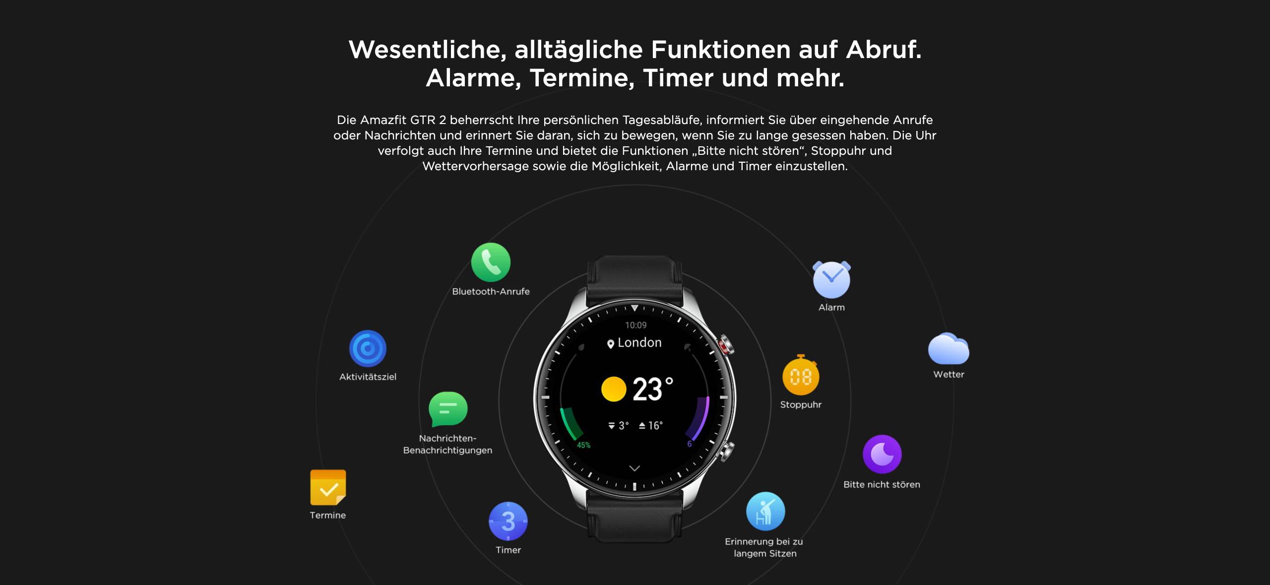 Amazfit GTR 2 - Wesentliche, alltägliche Funktionen auf Abruf. Alarme, Termine, Timer und mehr.