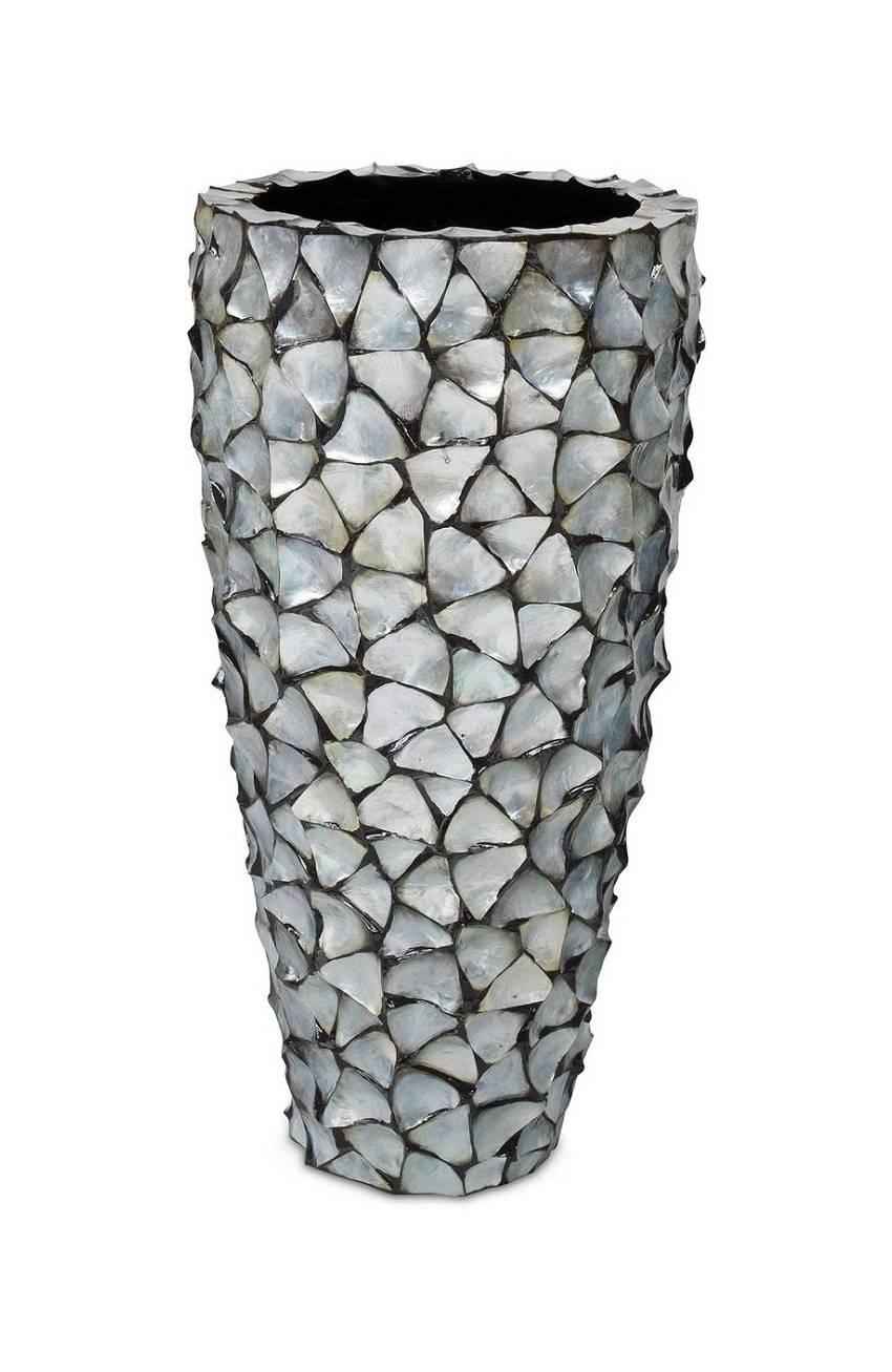 Finestgreen - Muschel Pflanzgefäß Silber Blau