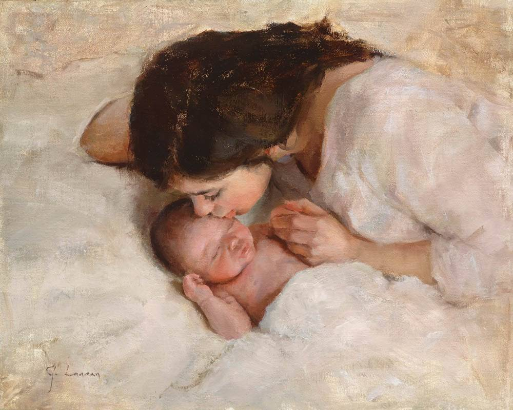 Peaceful painting of a mother leaning over her sleeping infant and kissing the infant's head.