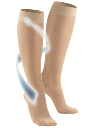 Ladies' Knee High Closed Toe Sheer Stockings With Arrow Travelling Up Leg