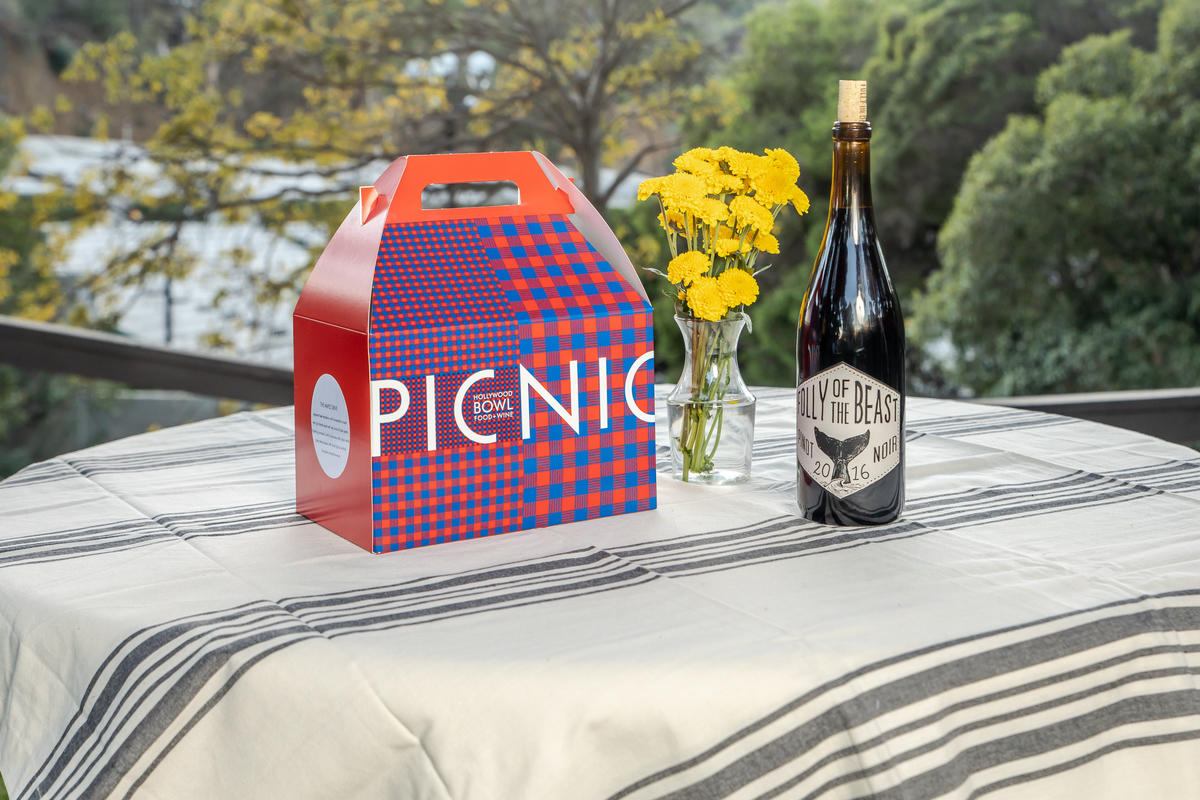 A lovely Food + Wine pre-ordered picnic box complete with a bottle of wine