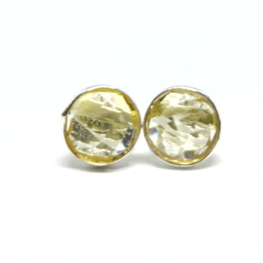 Серьги - гвоздики с цитрином серебро 925