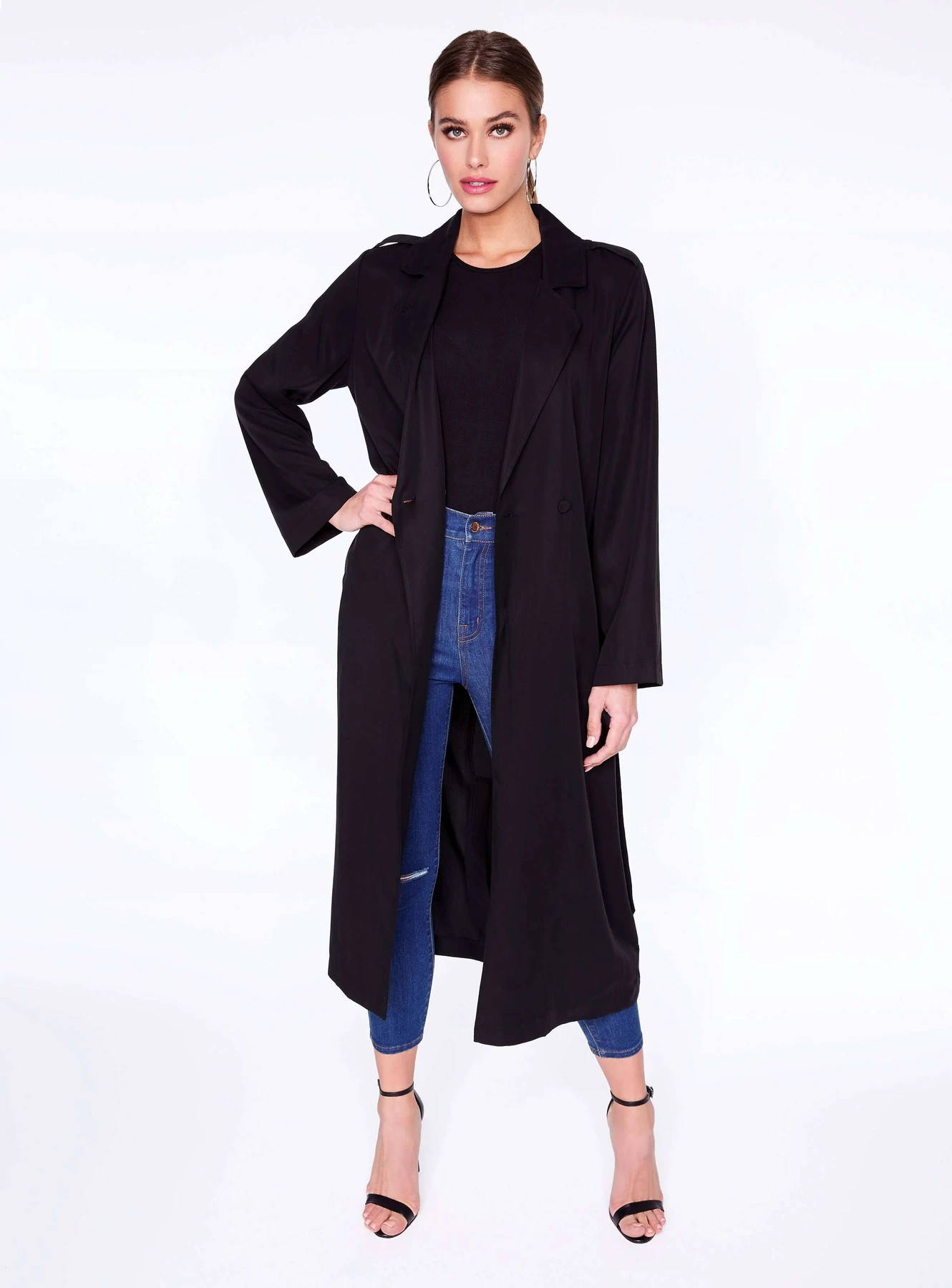 Black Tailored Trench Coat