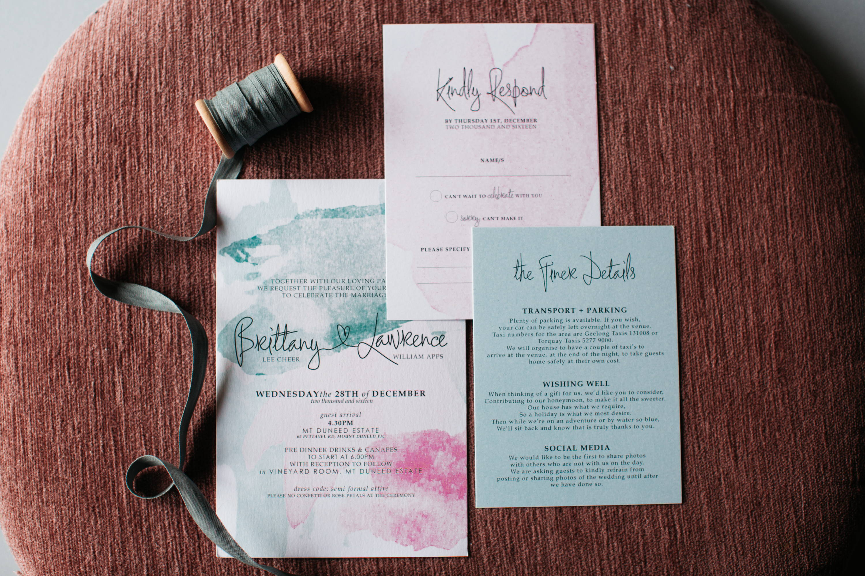 Wedding invitations custom lauren dillon designs foiling white ink printing create clear acrylic invitations or even print on gorgeous handmade deckled edge paper the options are endless stopboris Choice Image