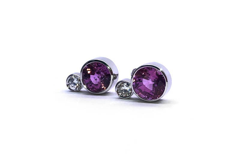 earrings in pink sapphire earrings