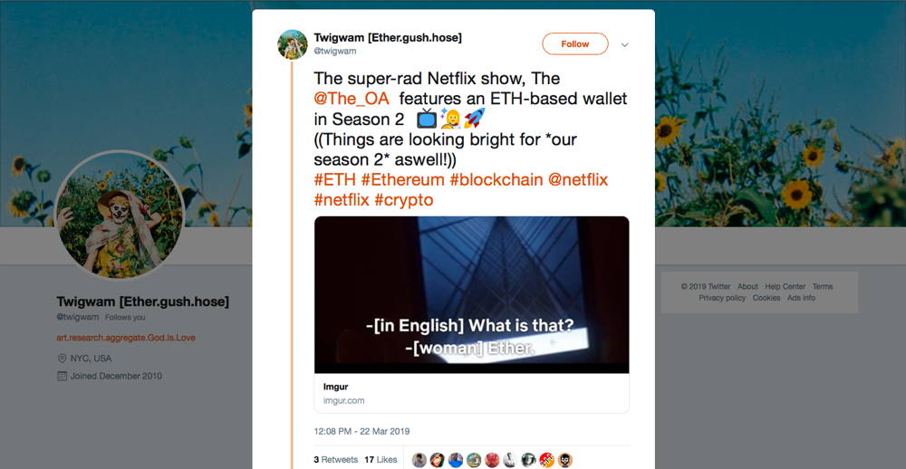 Twitter screenshot ETH wallet on Netflix