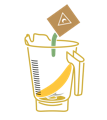 icon of blender with banana and powder being added