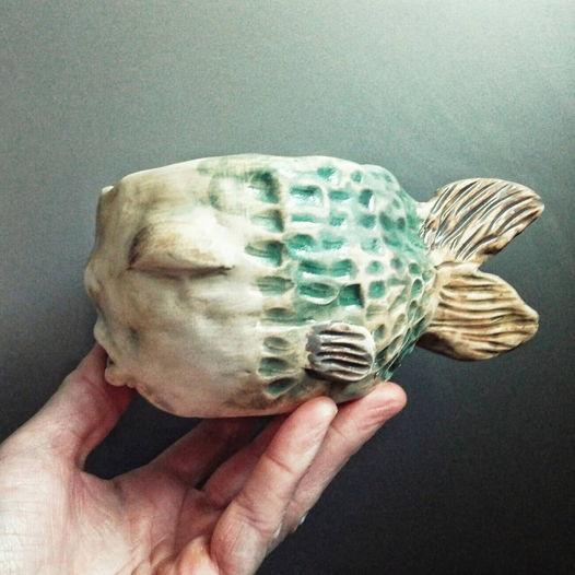 Чашка ручной работы рыбка зеленая