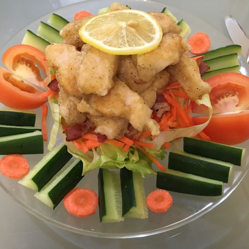 Dory fish fingers and vege chips