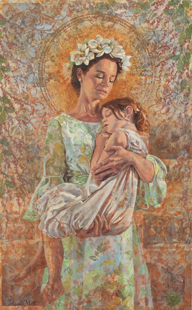 Vertical painting full of different textures depicting of a mother holding a sick child.