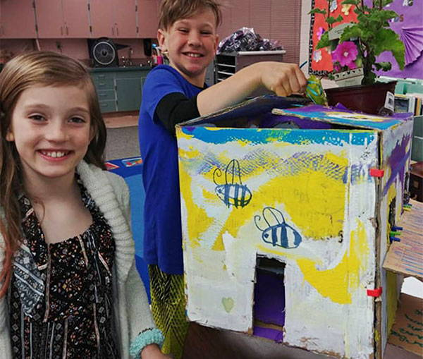 3ducks design team from Renton Washington designed a bee habitat