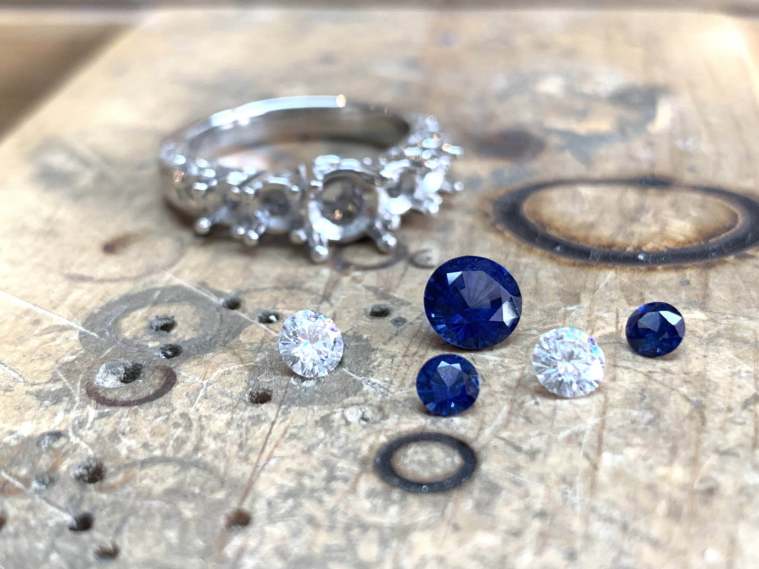 Sapphire and Moissanite Ring in process