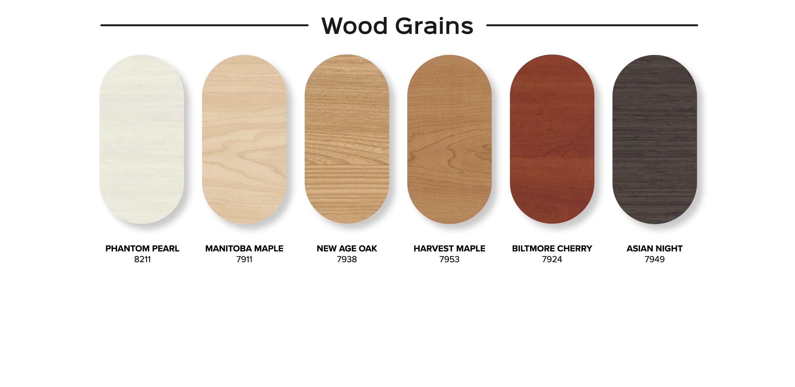 SnapCab Standard Color Options - Wood Grains