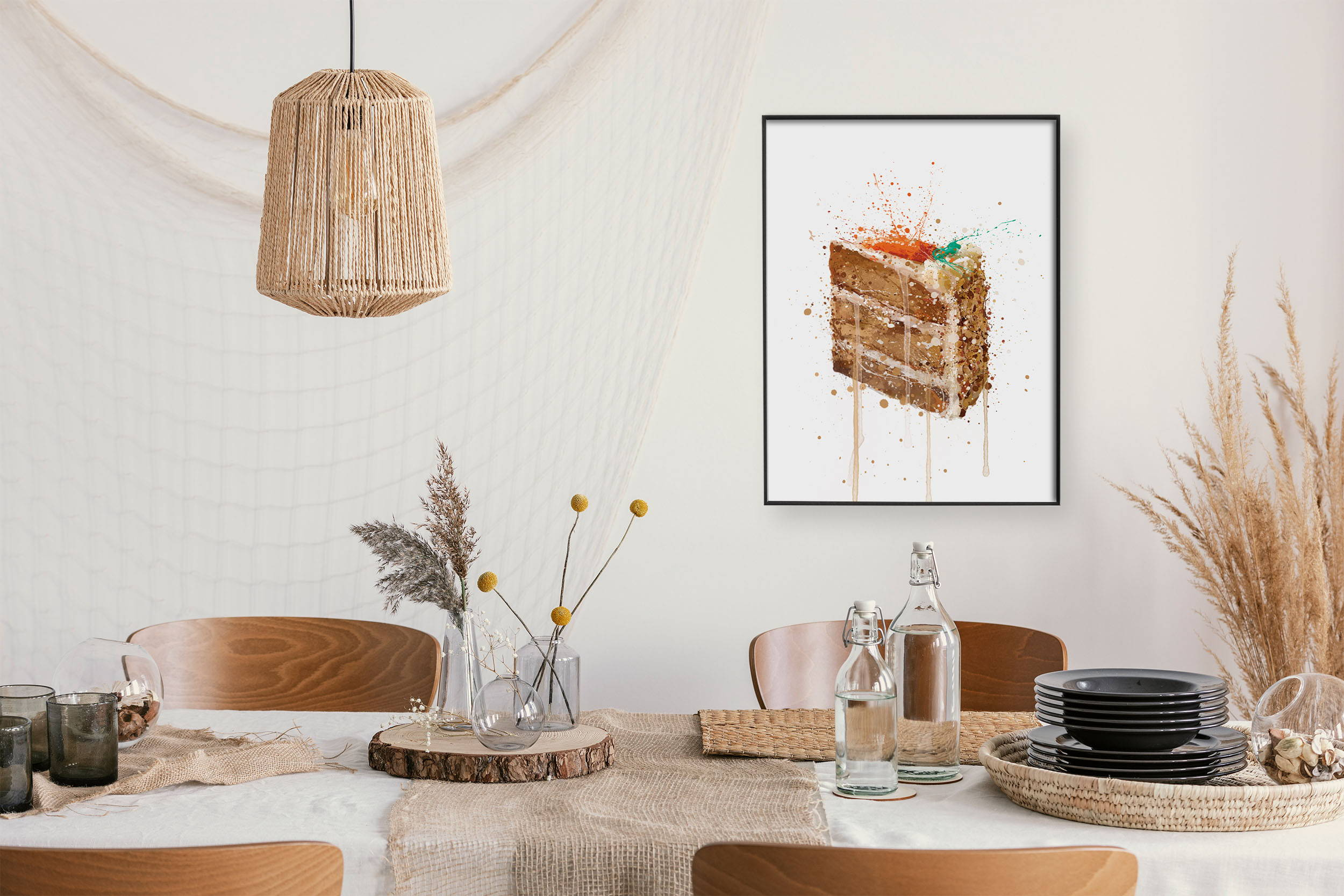 Autumn dining room with a carrot cake wall art print