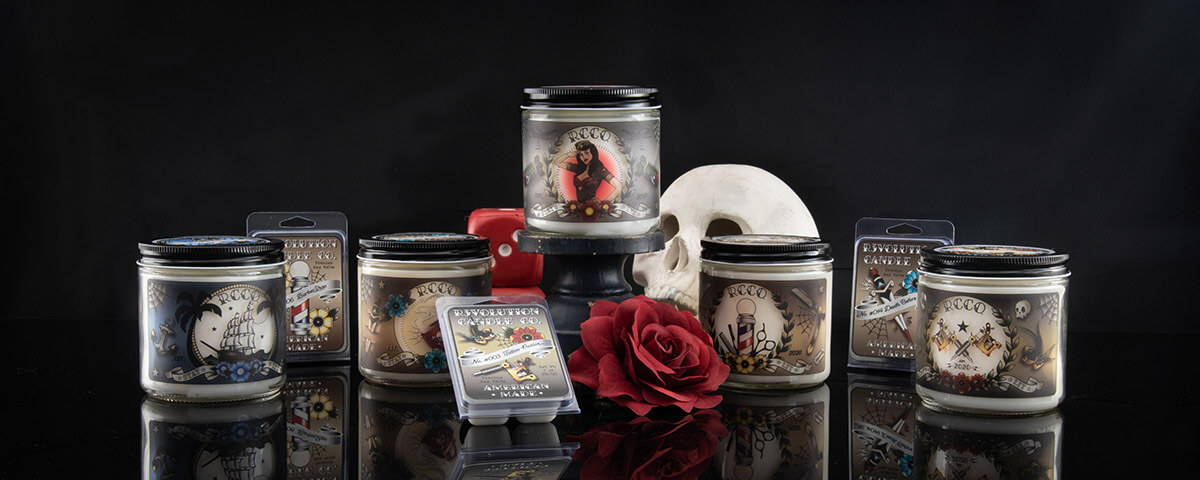 Revolution Candle Co Tattoo Inspired Handcrafted candles, wax melts, and samples